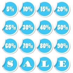 Set of sale tags on stickers. Vector illustration