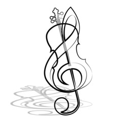 Violin and treble clef. Vector illustration