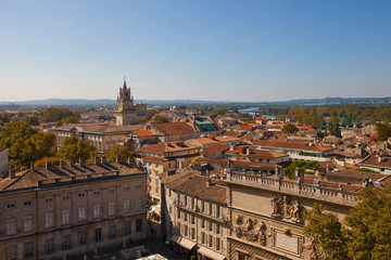 View of historic center of Avignon town. France