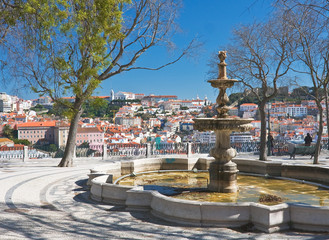 Fountain in the square. Lisbon. Portugal