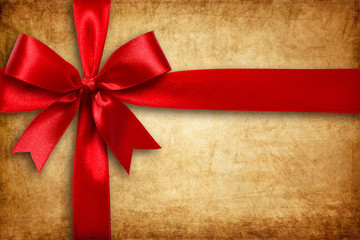 Red ribbon and bow on the cartoon box