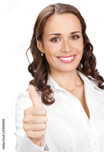 Woman with thumbs up gesture, over white