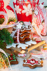 Stack of gingerbread cookies on sled