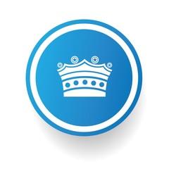 Crown symbol,Blue button,vector
