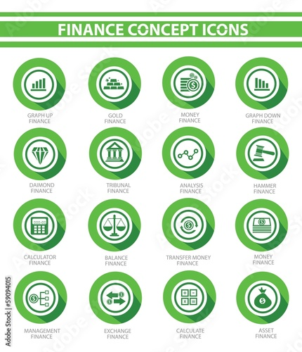 Finance icons,Green buttons,vector