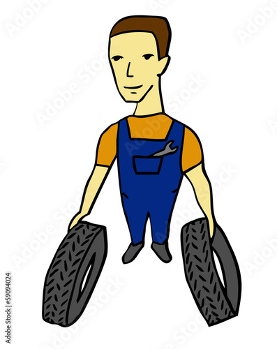 worker with tires