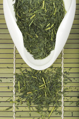 Set of green tea for tea ceremony.