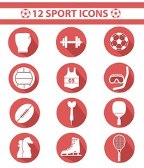 Sports icons,Red version,vector