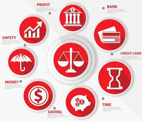 Business,Law and finance concept,Abstract,Red version,vector