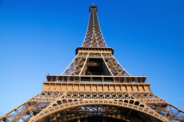 Eiffel Tower, Paris, France. View from the bottom, wide angle