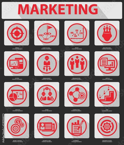 Flat Marketing Icons,Red version,vector