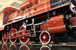 Red vintage steam locomotive