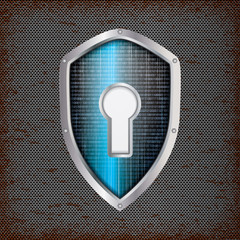 Security concept: blue shield with rusty metal background
