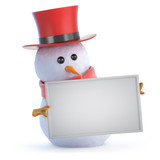 Snowman top hat holds a blank sign