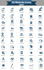 50 Website icon set,Blue version,vector