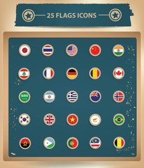 25 Flags National icons,vector