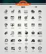 SEO (Search Engine Optimization)icons, Black version,vector