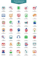 Set of Advertising icons,Colorful version,vector