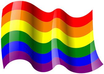 gay fahne wehend rainbow flag waving
