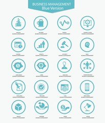 Business Management icons,Blue version,vector