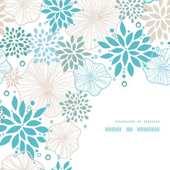 Vector blue and gray plants corner decor pattern background