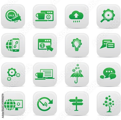Business Concept buttons,Green version,vector
