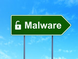 Safety concept: Malware and Opened Padlock on road sign poster