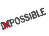 3d imagen changing the word impossible to possible