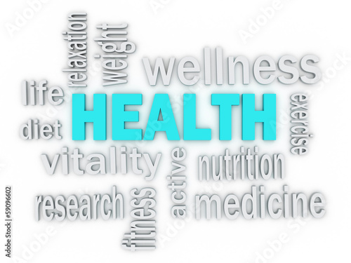 3d The word Health of words related to healthcare
