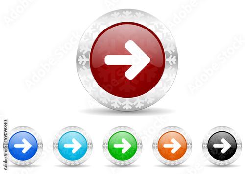 arrow right icon christmas vector set