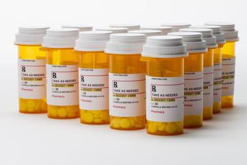 Group of prescription bottles, horizontal