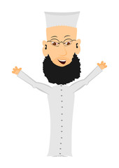 Cartoon imam on a white background. Easy to add to any design.