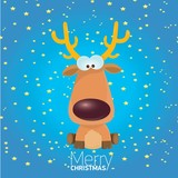 kids merry christmas illustration with reindeer