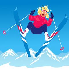 Young woman ski jumping