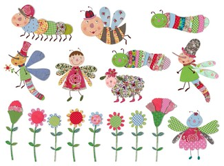 Cartoon characters, insects and flowers