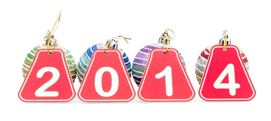 2014 year figures with Christmas balls on white background