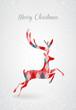 Merry Christmas retro abstract deer postal card