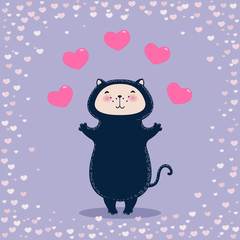 Funny cat with hearts. Beautiful Valentine's day greeting card.
