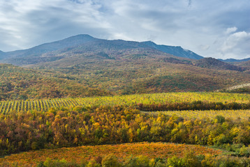 Mountain landscape near Alushta city at fall season - Crimea