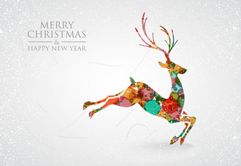 Merry Christmas colorful reindeer greeting card