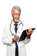 ritratto di un medico isolato su sfondo bianco