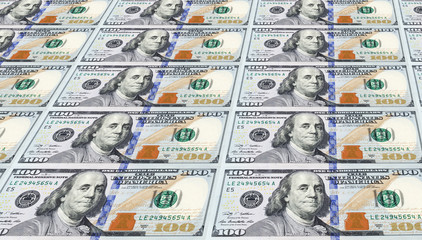 Several of the Newly Designed U.S. One Hundred Dollar Bills.