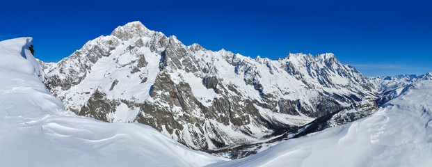 Panorama of Mont Blanc de Courmayeur and Val Veny