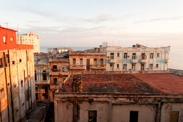 Old Buildings in Havana Centro at Dawn