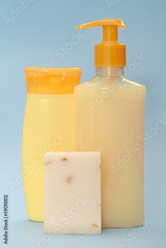 almonds soap, shampoo and shower gel