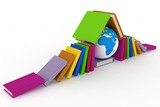 Earth and books. 3d illustration on white background