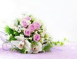 Fototapety Wedding Pink Roses And White Orchid Bouquet