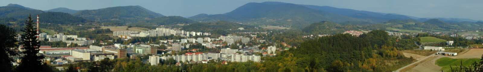 Panorama of city Roznov pod Radhostem, Czech Republic