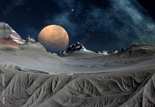 Plexiglas Alien Planet with Mountains and Snow