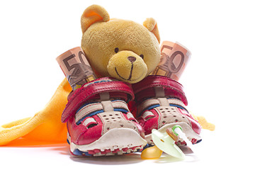 Baby Schuhe mit Geld Nuckel und Teddy